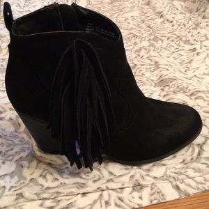 Charlotte Russe fringe suede boots